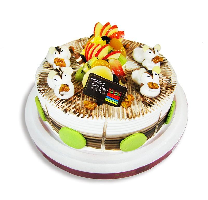 優仕紳-可愛小松鼠8吋生日蛋糕(單一宅配,不可與其他商品-起宅配)